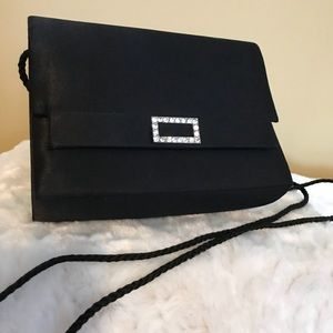 Handbags - Black Satin Evening Purse with Silk Corded Strap